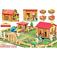 Shinington Farm – Wooden Log Farm House Wooden Construction Toys 223 Pieces Wooden Farm Playset for 3 year olds