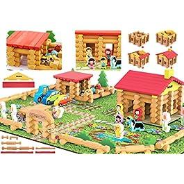 Toys of Wood Oxford Casa di Campagna in Legno Shinnington Farm – Fabbricati agricoli in Legno con Animali e Trattore – Costruzione di Giochi per Bambini