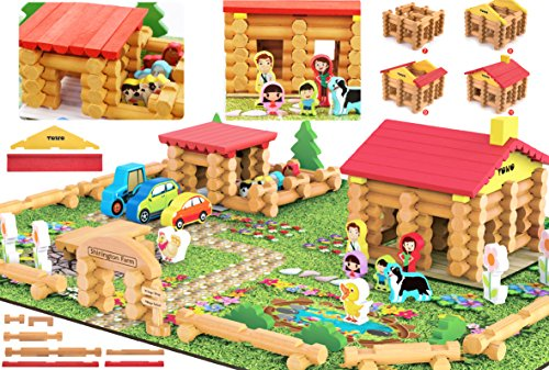Shinington Wooden Farm Playset- Wooden Log Building Set Farm House Wooden Construction Toys 223 Pieces Animal Farm - Wooden Building Toys for 3 4 5 6 year olds