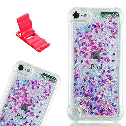 SXUUXB Handytasche für iPod Touch 5/6, Love Herz Quicksand Design Glitter Flüssigkeit Ziemlich Soft Silikon Schutzfall für iPod Touch 5/6 4.0