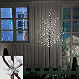 VINGO LED Kirschblütenbaum Weiß Stimmungslicht Beleuchtung Zuleitung Leuchtend Für Innen und Außen Weihnachten Beleuchtung Deko (Höhe ca.220 cm)