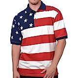 Horizontal American Flag Patriotic Men's Polo Shirt