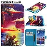 SherPome® Leder Hülle für Samsung Galaxy S4 Mini I9190 I9192 I9195 Wallet Case Muster Tasche Flip Stand mit Seil Schutzhülle Lederhülle Handyhülle