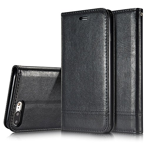Mixed Color Stitching Style Double Side Magnetverschluss Ultra Slim Premium Leder Tasche mit Kickstand Card Slots für iPhone 7 Plus und 8 Plus ( Color : White ) Black