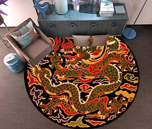 juan Neue Chinesische Runde Teppich Chinesischen Stil Zen Alten Wind Million Wörter Zurück-Print Dragon-Print Teestube Tee Tischset Mode Persönlichkeit Hängenden Korb Stuhl 80 cm X 80 cm - Zurück Print Tee