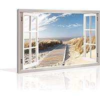 Visario Bild 120 x 80 cm auf Leinwand Düne Fensterblick 5007-SCT deutsche Marke und Lager - Die Bilder/Das Wandbild/der…