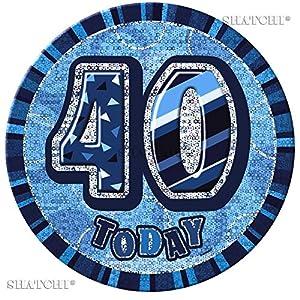 "Gifts 4 All Occasions Limited SHATCHI-558 - Insignia para 40 cumpleaños, diseño con texto""Happy Birthday"", color azul"