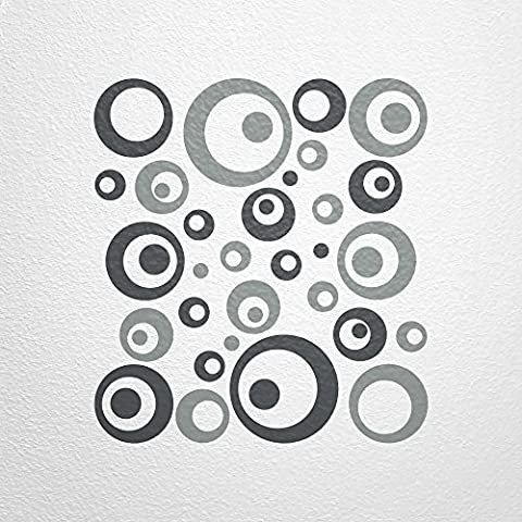 WANDfee® Wandtattoo 50 Retro Kreise AC0712120 Größe Ø 2 x 20 cm, 6 x 15 cm, 10 x 10 cm, 20 x 6 cm, 12 x 3 cm Farbe dunkelgrau