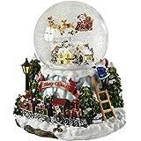 WeRChristmas Weihnachtsdeko, Schneekugel mit Dorf- und Zugszenerie und mit rotierendem Weihnachtsmann, 20cm, mit Musik