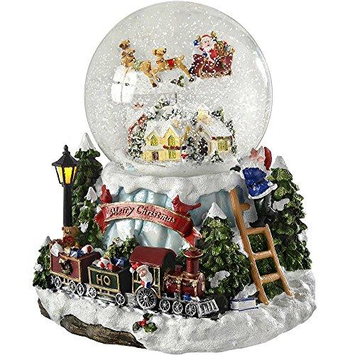 Werchristmas scena musicale animata con palla di neve e babbo natale semovente, 20 cm