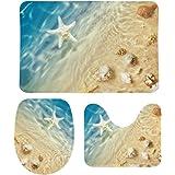 Ensemble de tapis de bain 3 pièces - Motif plage - Étoile de mer et coquillages - Style chic - Tapis de contour pour abattant