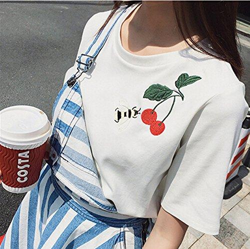 ... Minetom Damen Rundhals Sommer Hemd Short Sleeve Bluse Tops T Shirt Tops  Kurzarm Mode Biene Kirsche ...