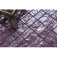 Patrón de 10x 10cm. Cristal azulejos mosaico en lila Texturizado) (Diseño Efecto Piedra volcánica mt0119patrón)
