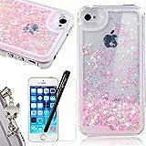 iPhone SE Coque Glitter Paillettes Amour Rose Etui , We Love Case Cristal Liquide...