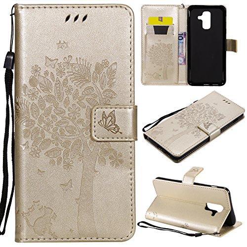 Artfeel Flip Brieftasche Hülle für Samsung Galaxy A6 Plus 2018, Samsung Galaxy A6 Plus 2018 Leder Gold Hülle Geprägt Baum Schmetterling Blume Muster mit Kartenhalter Magnetisch Stand Handyhülle -