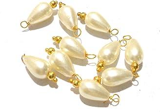 Goelx Pearl Drop Designer Hangings for Jewellery Making, Beading & Decorative Art Craft Work - Pack of 50 !!