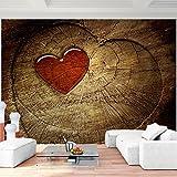 Fototapete Holz Herz 352 x 250 cm Vlies Wand Tapete Wohnzimmer Schlafzimmer Büro Flur Dekoration Wandbilder XXL Moderne Wanddeko - 100% MADE IN GERMANY - Braun Rot Runa Tapeten 9013011c