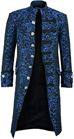 SWHRIOPD Men's Steampunk Vintage Coat Jacket Gothic Victorian Tailcoat Frock Uniform Costume Long Outwear Overcoat Trench