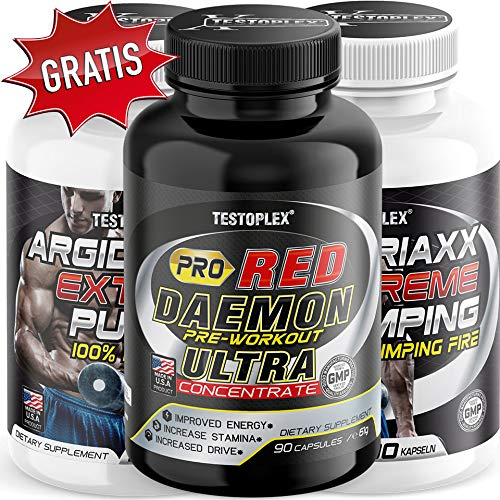 Muskelaufbau Power Pump Kombi - 2 x Argidriaxx + 1 x Pro Red Daemon Muskelaufbau  Fettabbau   Energie   Bodybuilding   Fitness   Ausdauer -