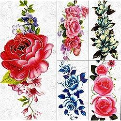 yyyDL tatuajes temporales 3D DIY Gran Rosa Roja Tatuajes Temporales Pegatinas Cadenas de Joyería Para Mujeres Niñas Arte Corporal Flor de la Margarita Impermeable Tatuaje Falso 19 * 9 cm 5 unids