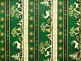 ab 1m: Bedruckte Baumwolle, Weihnachtsmotive, grün-gold,