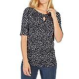 Betty Barclay 3803 2928 Damen Shirt Modisches Florales Muster Kurzarm Rundhals, Groesse 44, Marine/Weiß/Gemustert