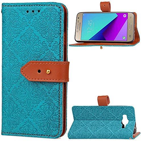 EKINHUI Case Cover European Mural Embossed Style Flip Stand Cover Geldbörse Tasche mit Nivellier Leder Gürtelschnalle für Samsung Galaxy J2 Prime ( Color : Blue ) Blue
