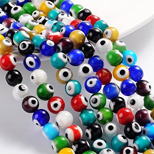 mauvais œil Lampwork Perles de verre. complet Mèche. 6 mm, 8 mm ou 10 mm, 6 mm