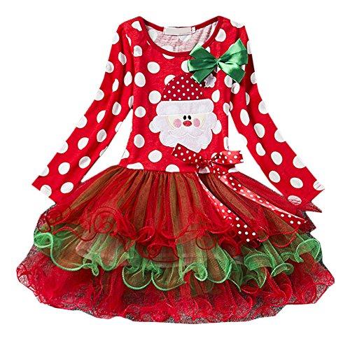 Scothen Kleinkind Kinder Hirsch Gestreift Prinzessin Baby Mädchen Kleid Weihnachten Outfits Kleider Kids Baby Girls Santa Striped Princess Dress Toddler Christmas Outfits (Children's Christmas Star Kostüm)