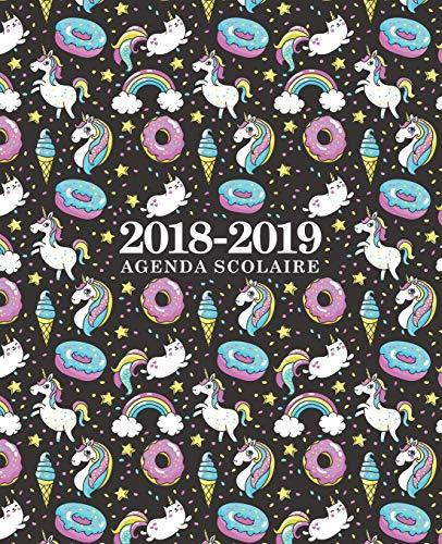 Agenda scolaire 2018-2019: 19x23cm : Agenda 2018 2019 semainier : Motif licornes, chats, crème glacée et beignets