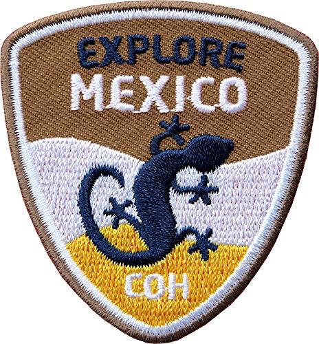 Club of Heroes 2 x Mexico Aufnäher 55 x 60 mm gestickt braun/Reise Mittel-Amerika Gekko Rucksack/Aufbügler Bügel-Patch Flicken Sticker Patch/Patches aufbügeln auf Kleidung Rucksack/Reiseführer