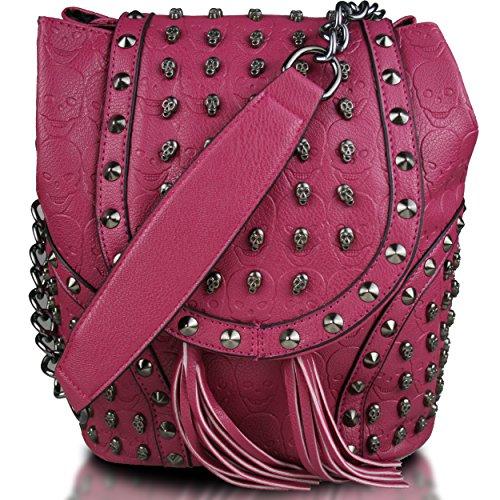 Miss Lulu Ecopelle Teschio in rilievo con borchie Zaino a catena Borsa a tracolla Tempo libero di viaggio