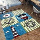 Kinderteppich Kinderzimmer Pirat pirate Anker Kids Carpet 3 Größen TOP Preis, Größe:120x170 cm, Farbe:Multi