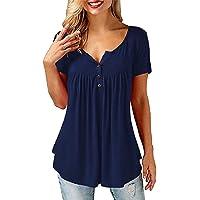 Tuopuda T-Shirt Donna Estive Maniche Corte Casual Top Blusa V-Collo Camicetta Donna Manica Corta Bottoni Maglietta