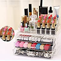 Cosmetic Storage Organizer Acrylic Makeup Case Jewelry Display Box Storage Unit - COSMETIC DRAWER / MAKE UP NAIL POLISH VARNISH DISPLAY STAND / ORGANISER / RACK / HOLDER CAN ALSO BE USED FOR MAKEUP BRUSH SETS, JEWELLERY AND ARTS AND CRAFT - 20 SECTIONS