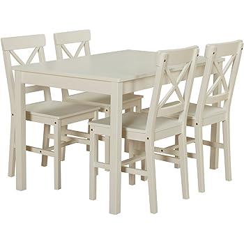 Dynamic24 Kiefer Landhaus Essgruppe Tisch 4 Stühle Stuhl Sitzgruppe ...
