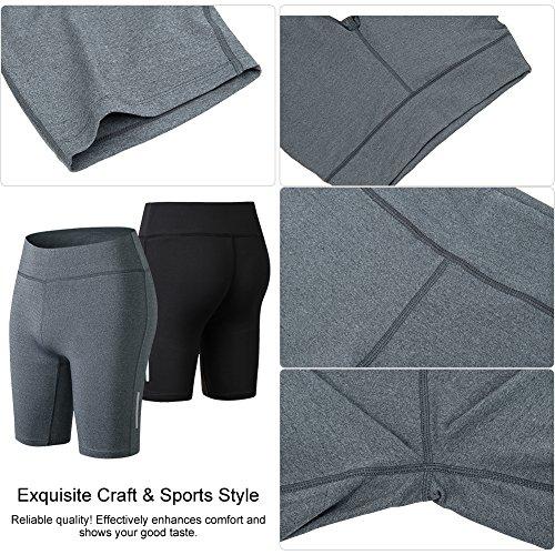 Fitibest Femmes Short de compression Short coupe rapide de sport Vêtements actifs pour Yoga Fonctionnement Leggings,2 Pieces Noir+Gris