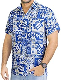 La Leela manches courtes aloha bouton des hommes caribbean tropical bas chemise ajustement xs bleu classique - 5xl