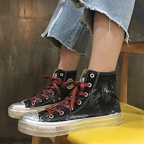 Wuyulunbi@ Primavera e autunno scarpe di tela Calzature sportive a fondo piatto bianco scarpe scarpe Nero