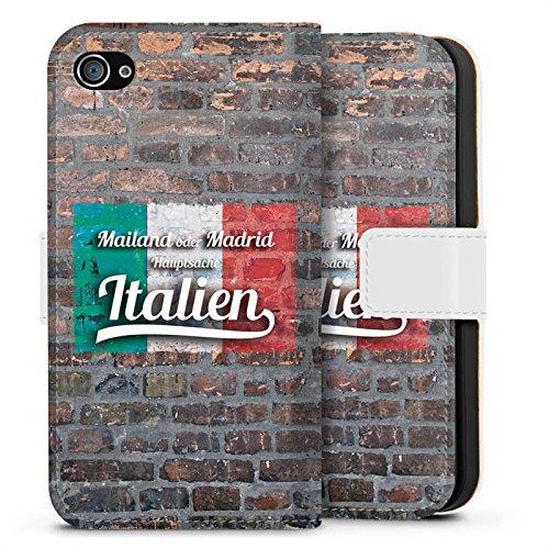 Apple iPhone X Silikon Hülle Case Schutzhülle Hauptsache Italien Humor Fußball Spruch Sideflip Tasche weiß