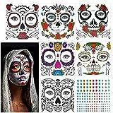 Etiqueta Mascarada Temporal, KATOOM, 6pcs, Tatuaje Cara Carnaval, Diseño Cráneo con Gemas, Colorido Terror Adhesivas para Maquillaje en Carnaval y Baile de Disfraz a Carnaval, Día de los Muertos