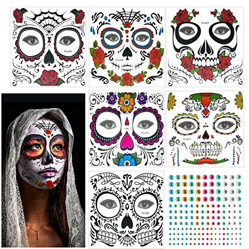 KATOOM Halloween Tatuaggi di Faccia,6 PCS Halloween Tatuaggi Temporanei e 1 PCS Strass Moda Maschere Decorazione Festa a Tema Halloween Festa in Maschera Festa di Trucco