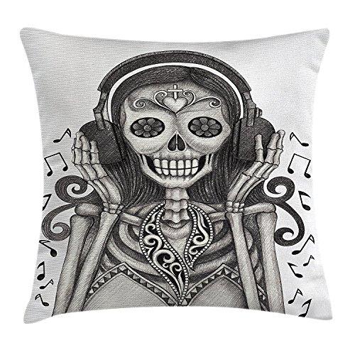 DAY OF THE DEAD Decor Werfen Kissenbezug, Dia De Los Muertos Skull Girl mit Kopfhörer Music Lover Print, Dekorative Quadratisch Accent Kissen Fall, 45,7x 45,7cm, Staub und dimgrey