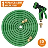 ANSIO Garden Hose Pipe 50 Ft with Brass Connectors, Polyester Fabric Outer Layer