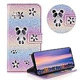 Glitzer Strass Brieftasche für Galaxy S10 5G,Regenbogen Lila Leder Handyhülle für Galaxy S10 5G,Moiky Luxus 3D Magnetisch Kristall Niedlich Panda Blumen Diamant Hülle mit Kartenfächer Ständer -