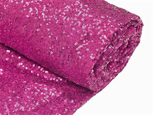 ShinyBeauty Pailletten Stoff Meterware Pailletten Glamorous Spitze Stoff für Hochzeit/Kleid, hot pink, 1 Meter