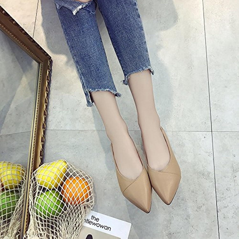 HH Zapatos de Mujer con Zapatos Gruesos para Mujer de Tacón Bajo Zapatos de Trabajo Joker para Uso Commuter,Albaricoque,38