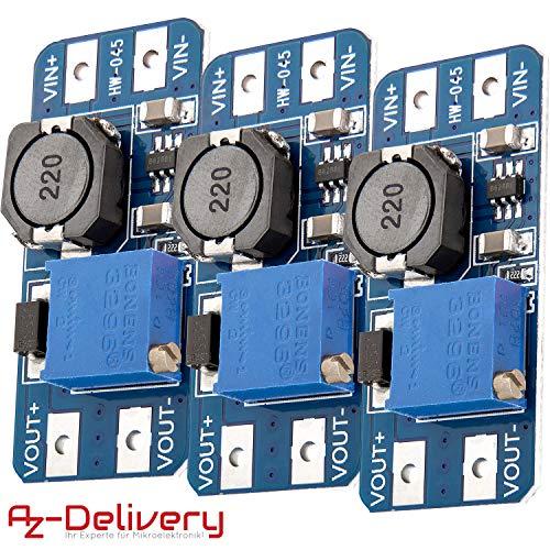 AZDelivery 3 x MT3608 DC-DC Netzteil Adapter Step up Modul für Arduino mit Gratis eBook!