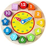 Lewo Wooden Teaching Shape Sorting Clock Educational Toys Games for Kids 3 Years Old