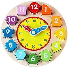 Idea Regalo - Lewo Giocattoli educativi di Orologio di Legno di Forma di insegnamento di classificazione dei Giochi per i Bambini 3 Anni